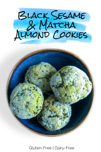 Black Sesame and Matcha Almond Cookies