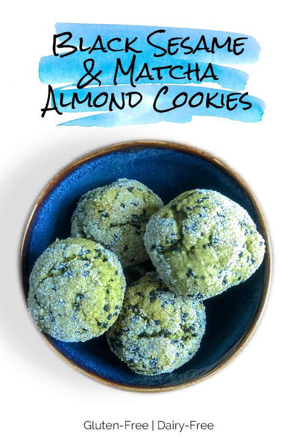 Black Sesame and Matcha Almond Cookies